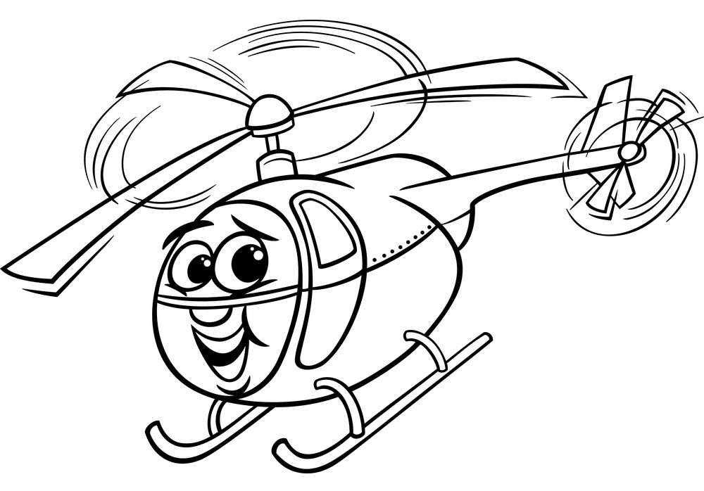 Helicopter Cartoon for coloring