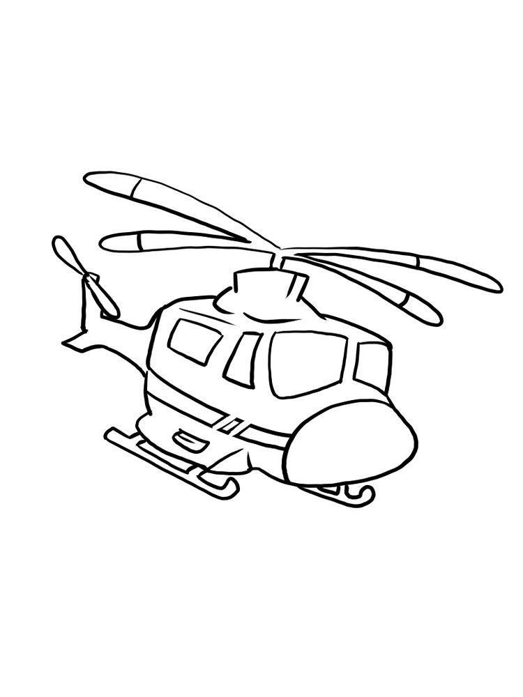 Hình máy bay trực thăng đơn giản cho bé tập tô