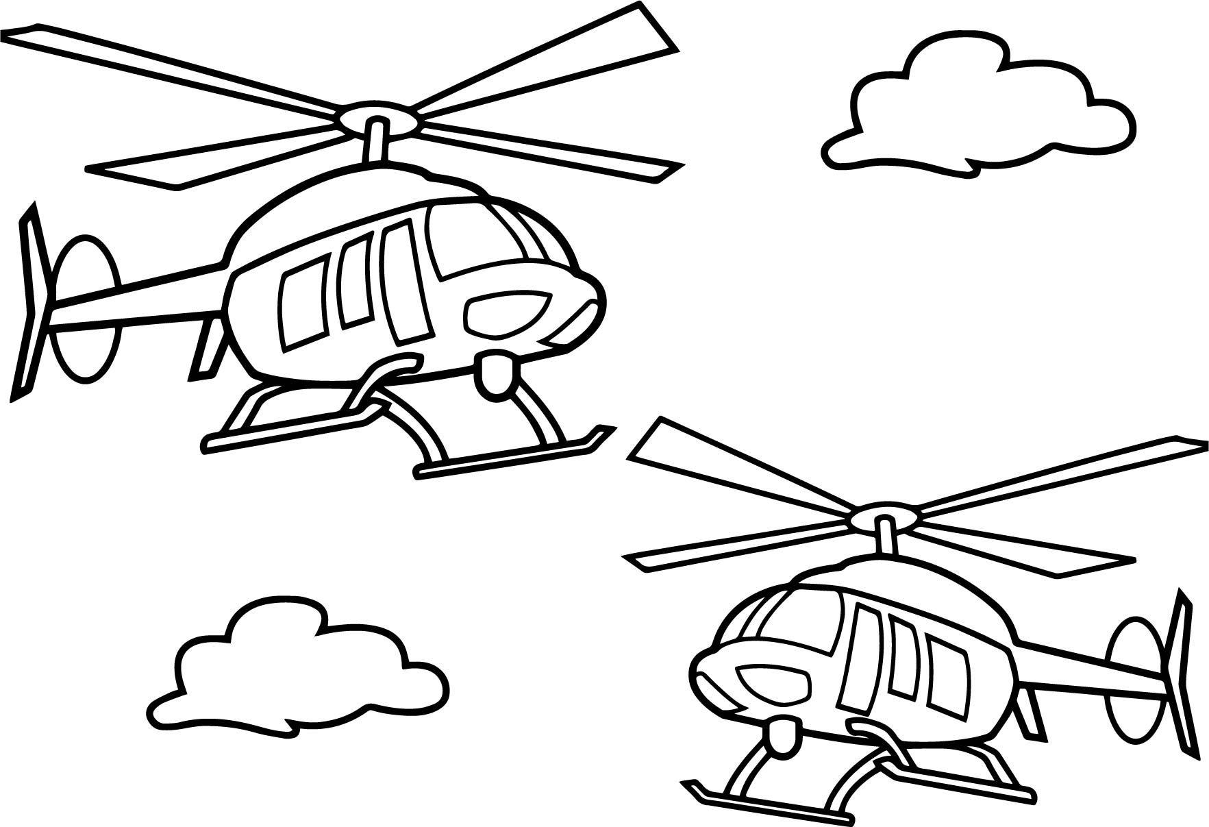 Hình tô màu 2 chiếc máy bay trực thăng