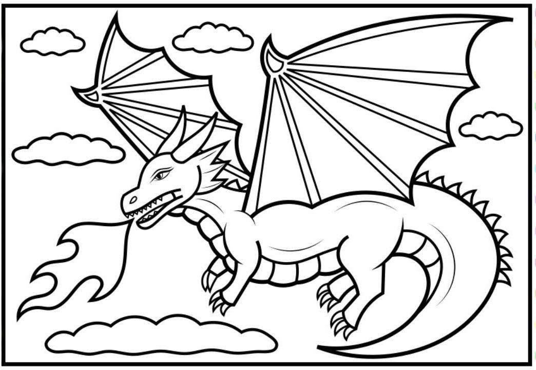 Hình tô màu cho bé chủ đề con rồng