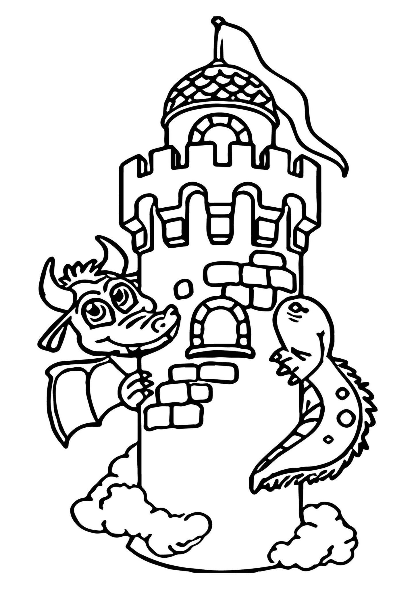 Hình tô màu con rồng bảo vệ tòa lâu đài