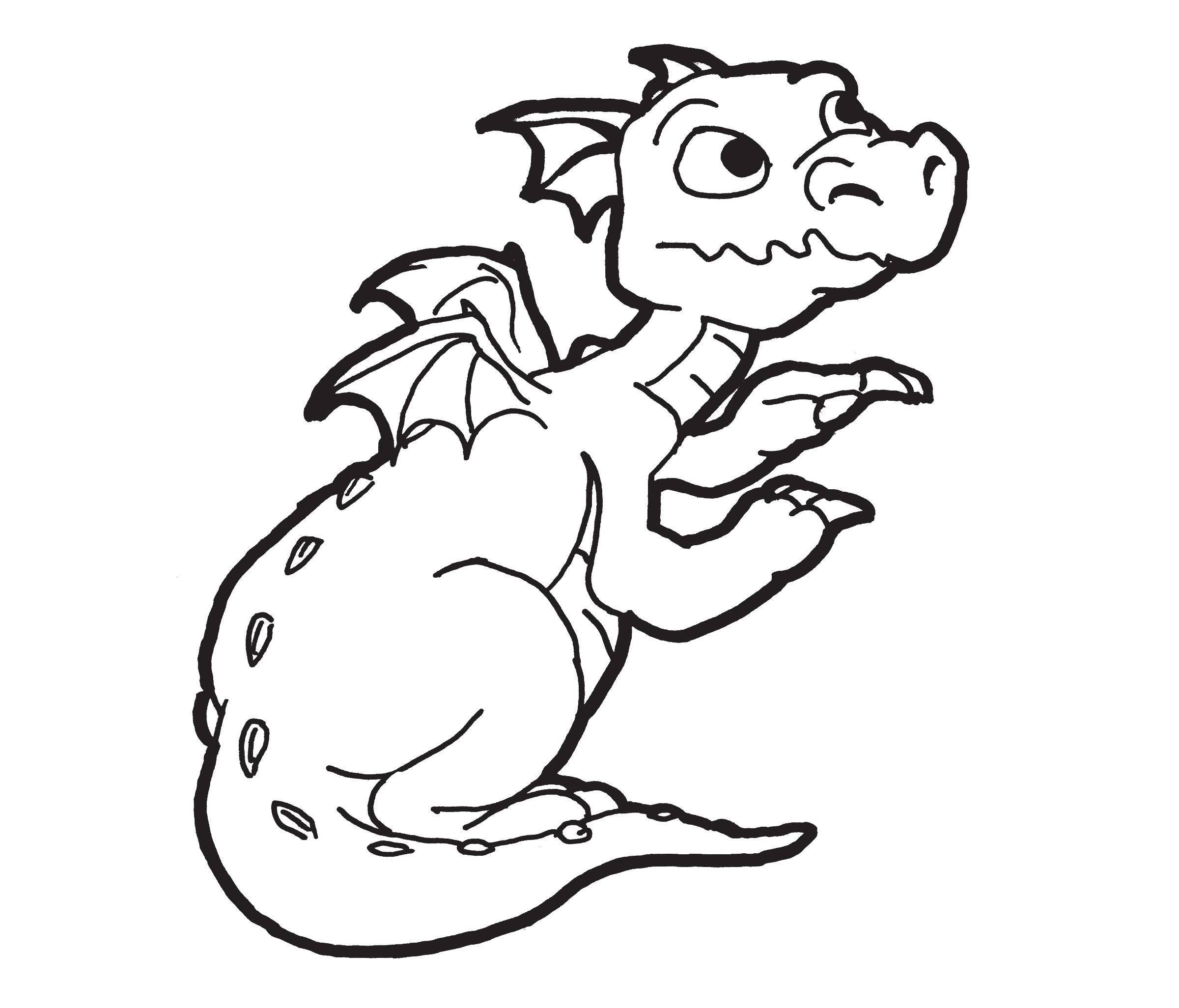 Hình tô màu con rồng cute