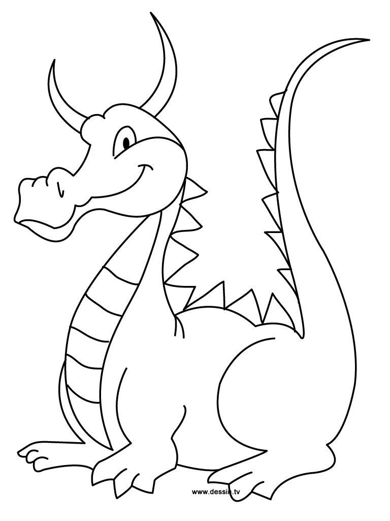 Hình tô màu con rồng dễ thương