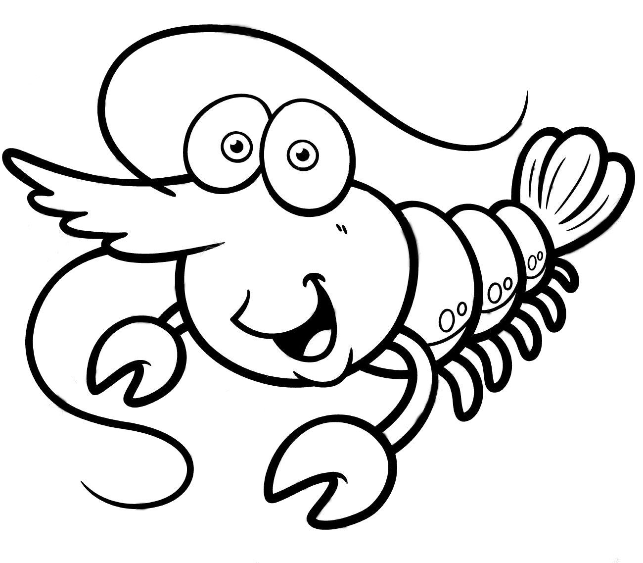 Hình tô màu con tôm hoạt hình