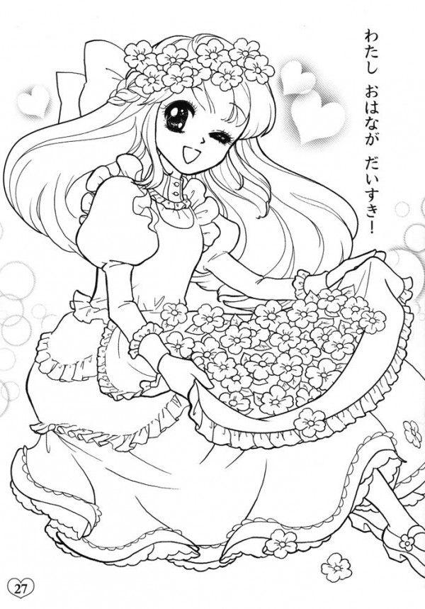 Hình tô màu công chúa anime cho bé