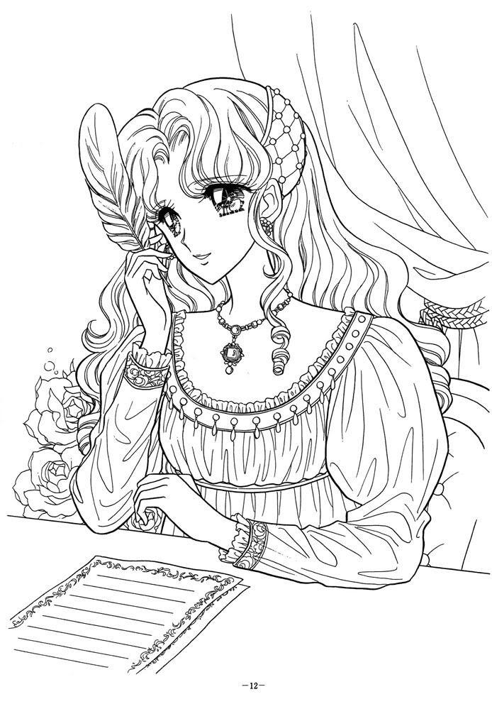 Hình tô màu công chúa anime cực đẹp