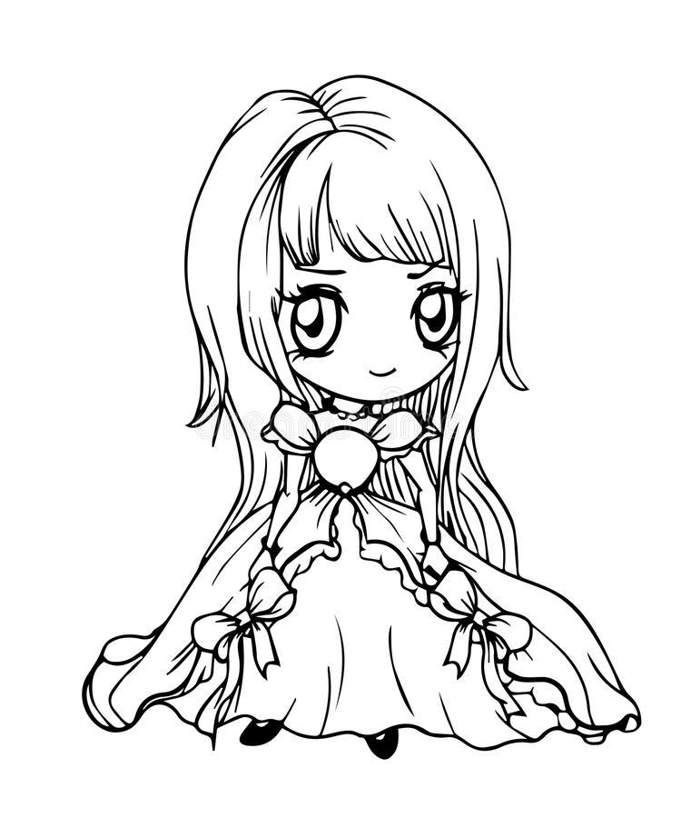 Hình tô màu công chúa anime cute