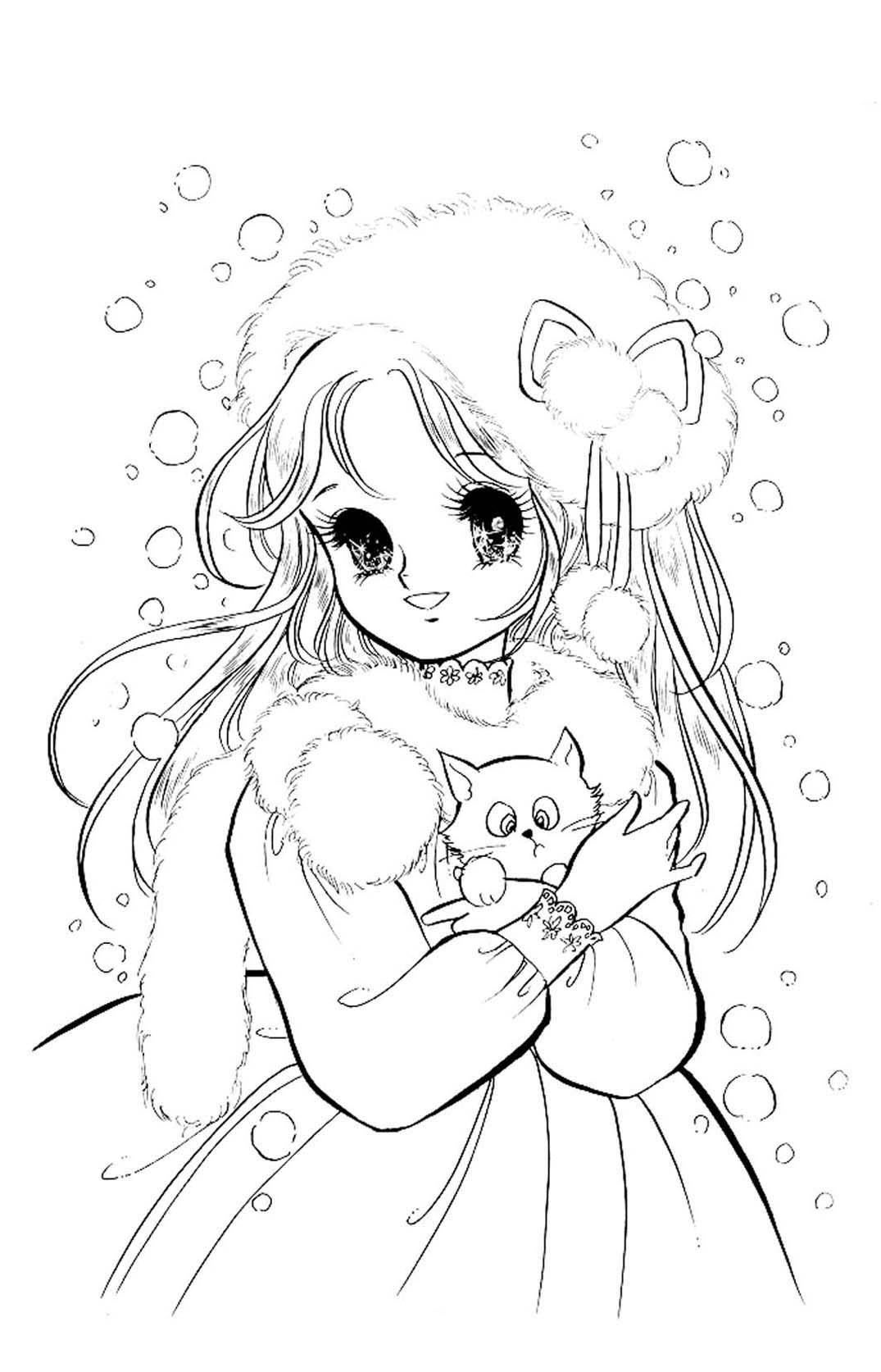Hình tô màu công chúa anime đẹp, dễ thương