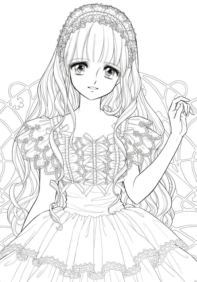 Hình tô màu công chúa anime đẹp