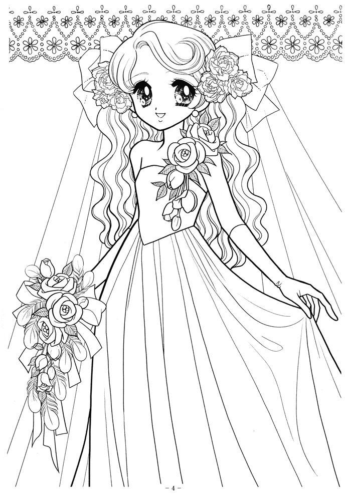 Hình tô màu công chúa anime mặc váy cưới