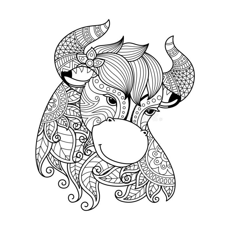 Hình tô màu cung hoàng đạo Kim Ngưu dễ thương