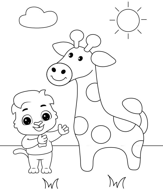 Hình tô màu hươu cao cổ cho bé