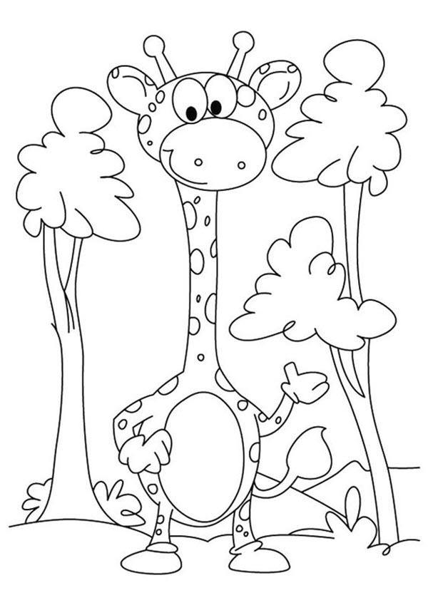 Hình tô màu hươu cao cổ hoạt hình