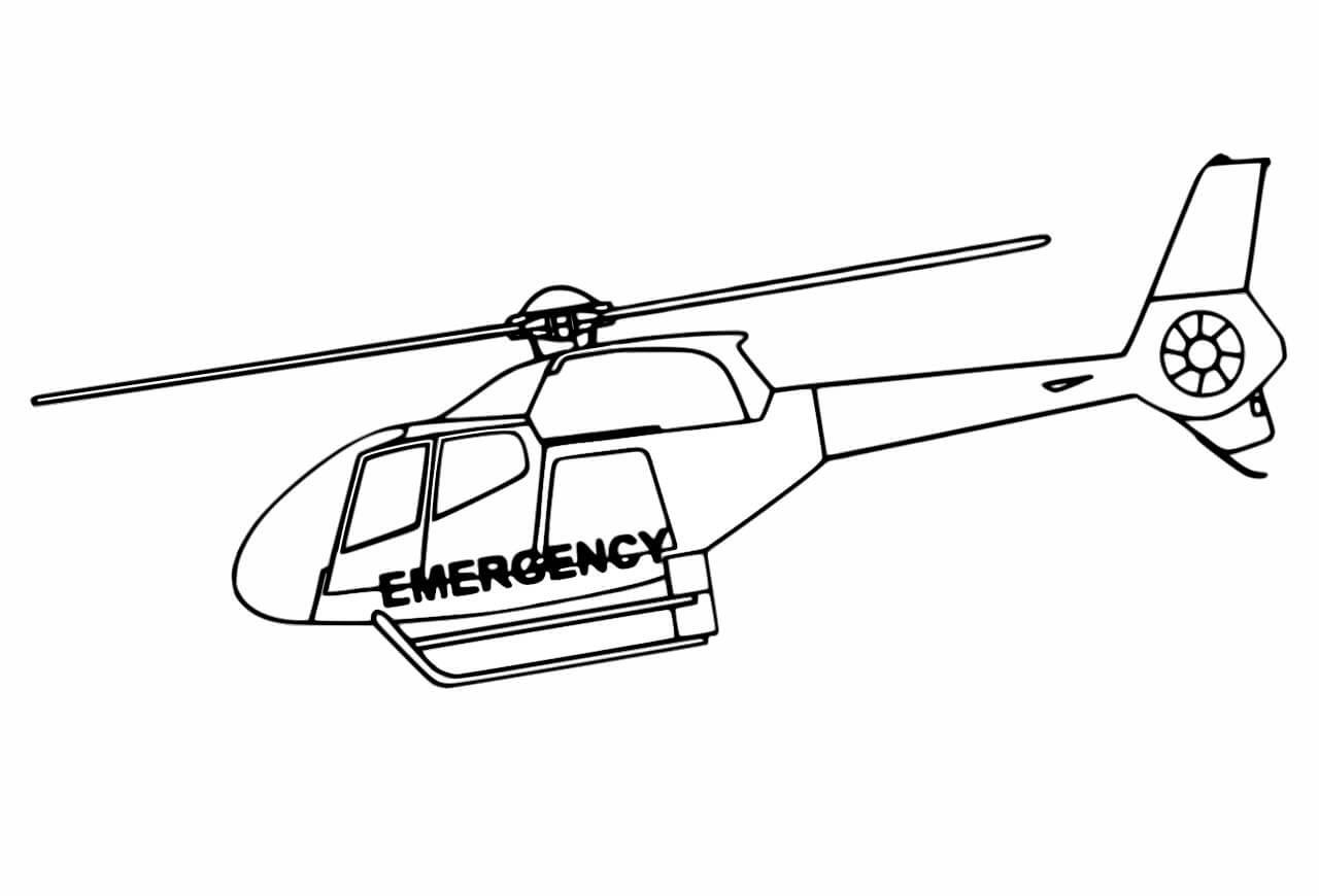 Hình tô màu máy bay trực thăng đẹp, đơn giản