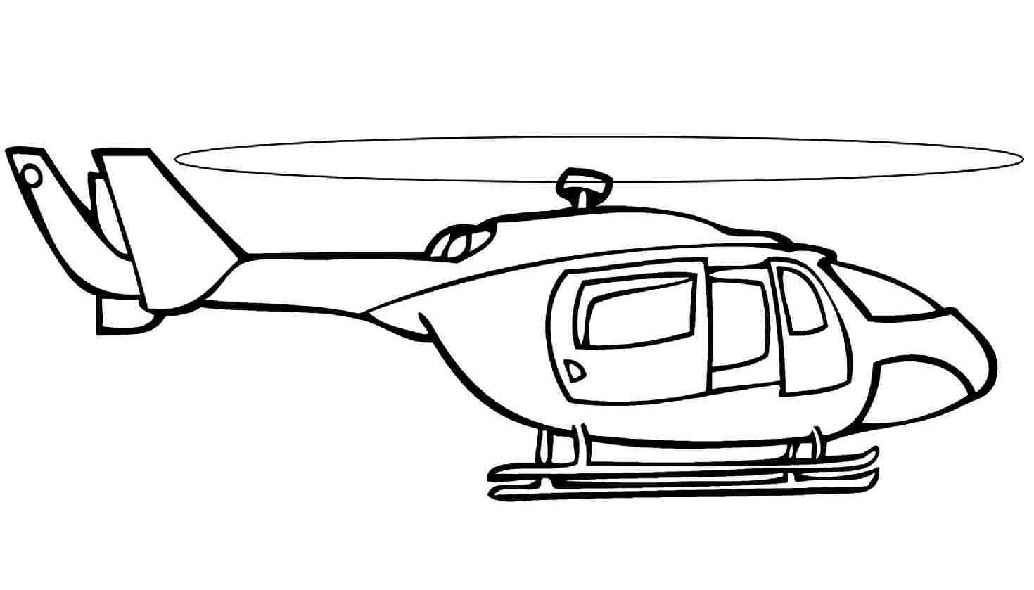 Hình tô màu máy bay trực thăng đơn giản
