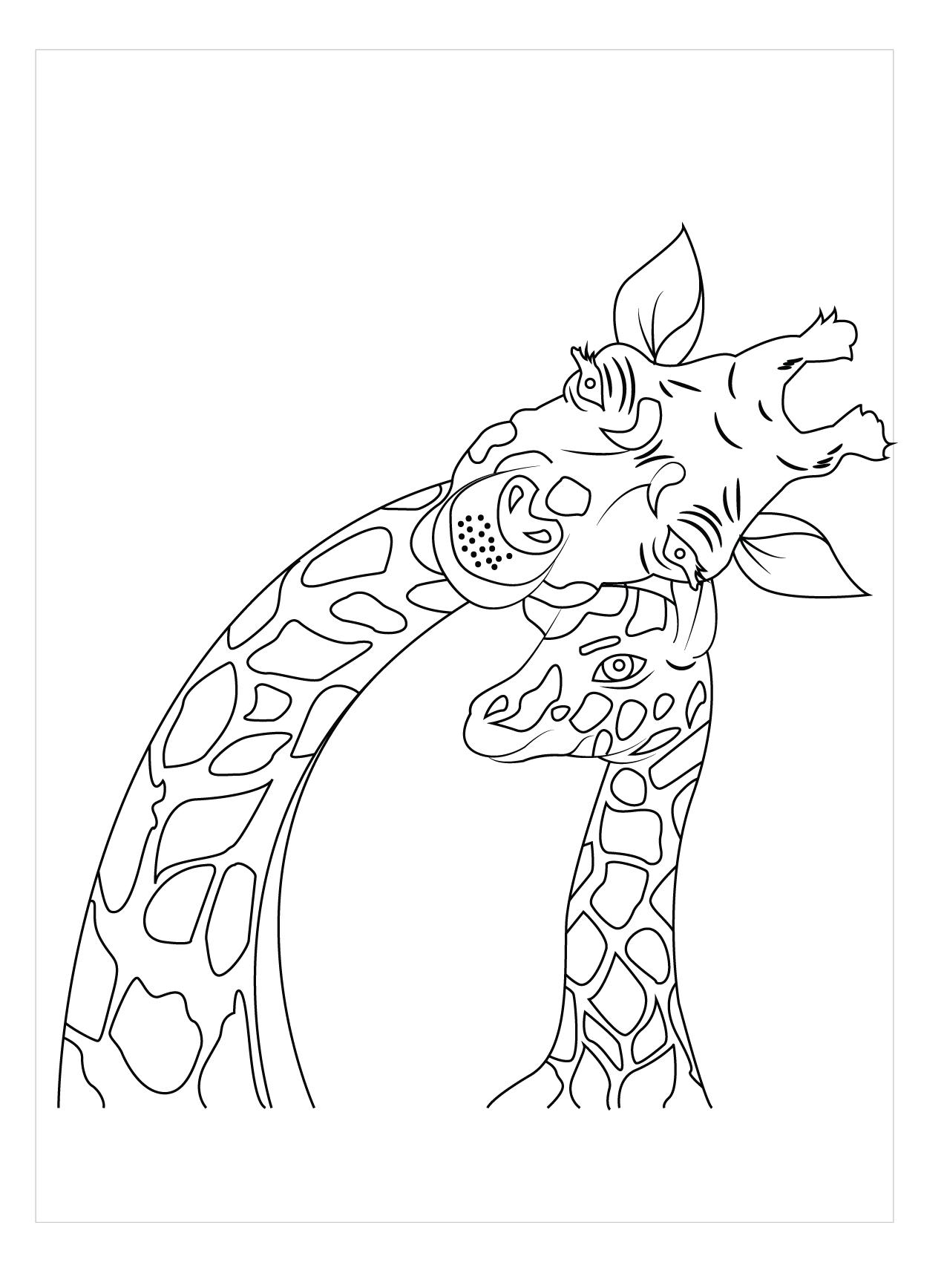 Hình tô màu mẹ con hươu cao cổ
