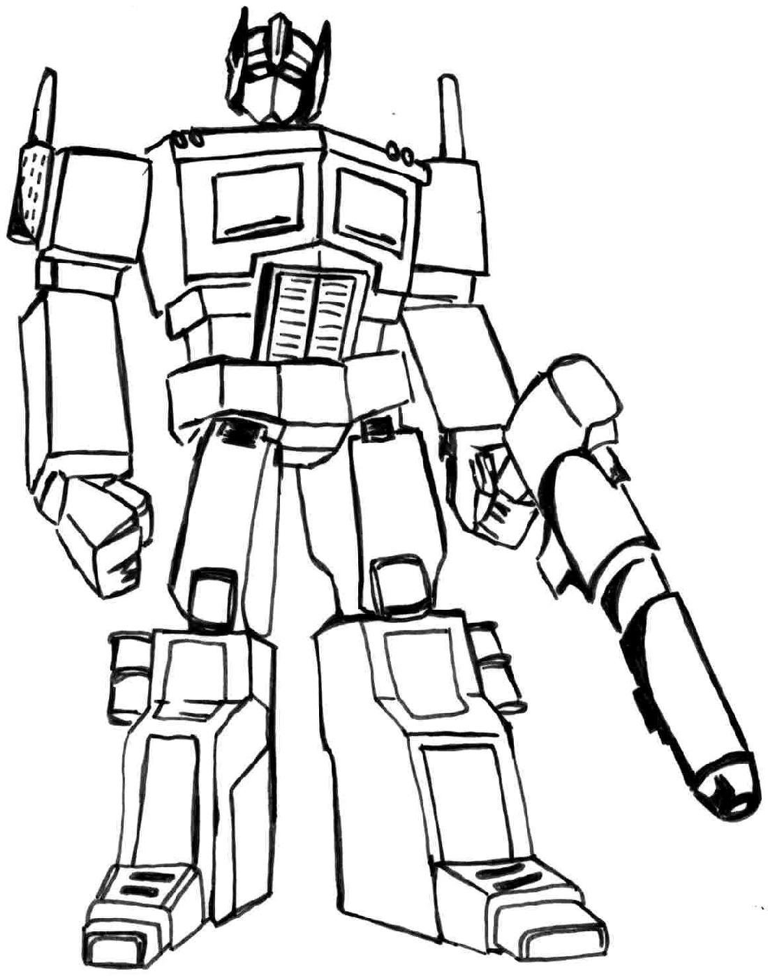 Hình tô màu Robot biến hình cho bé trai