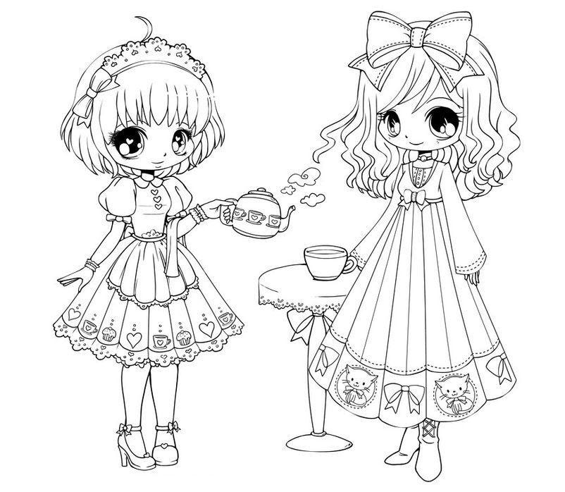 Mẫu tranh tô màu công chúa anime dễ thương nhất