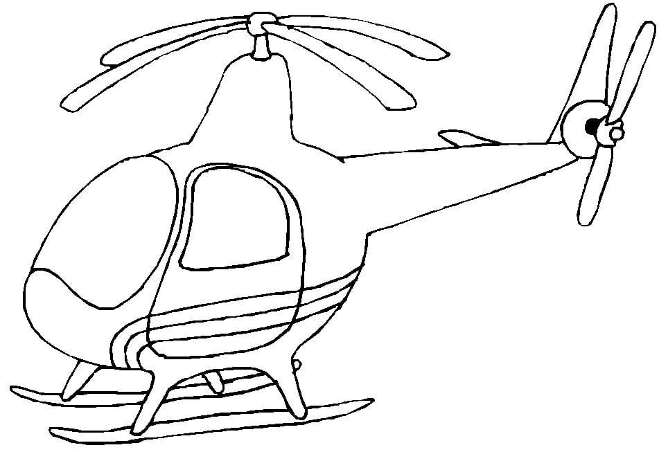 Mẫu tranh tô màu hình máy bay trực thăng
