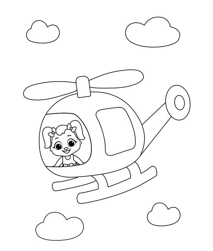Tranh tô màu bé và máy bay trực thăng