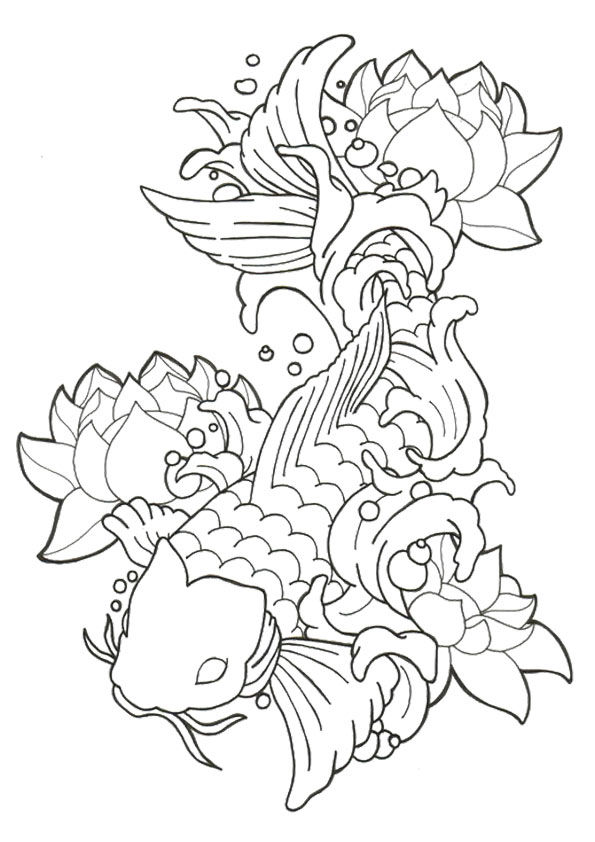 Tranh tô màu cá chép và hoa sen