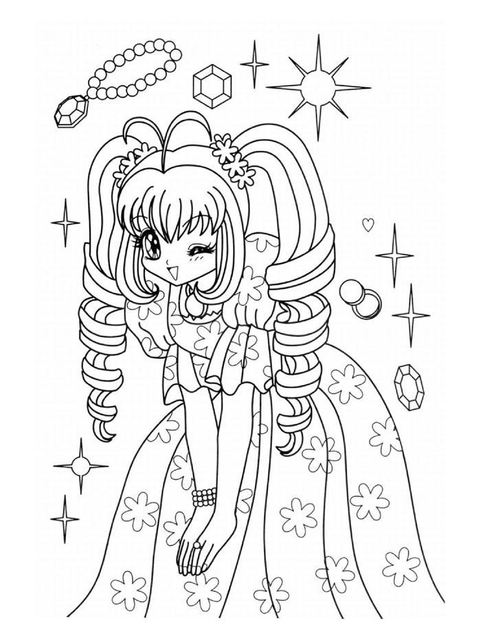Tranh tô màu cho bé công chúa anime
