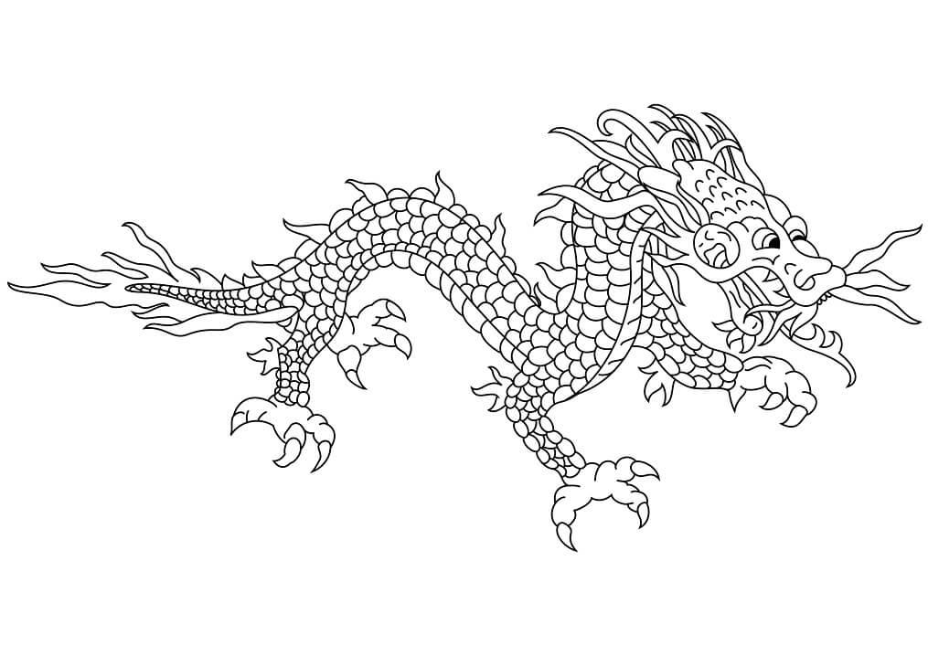 Tranh tô màu con rồng Châu  Á