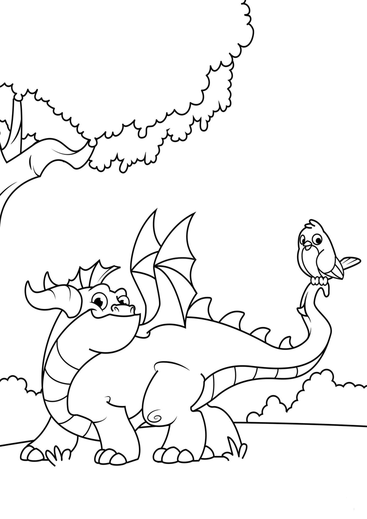 Tranh tô màu con rồng cho bé cực đáng yêu
