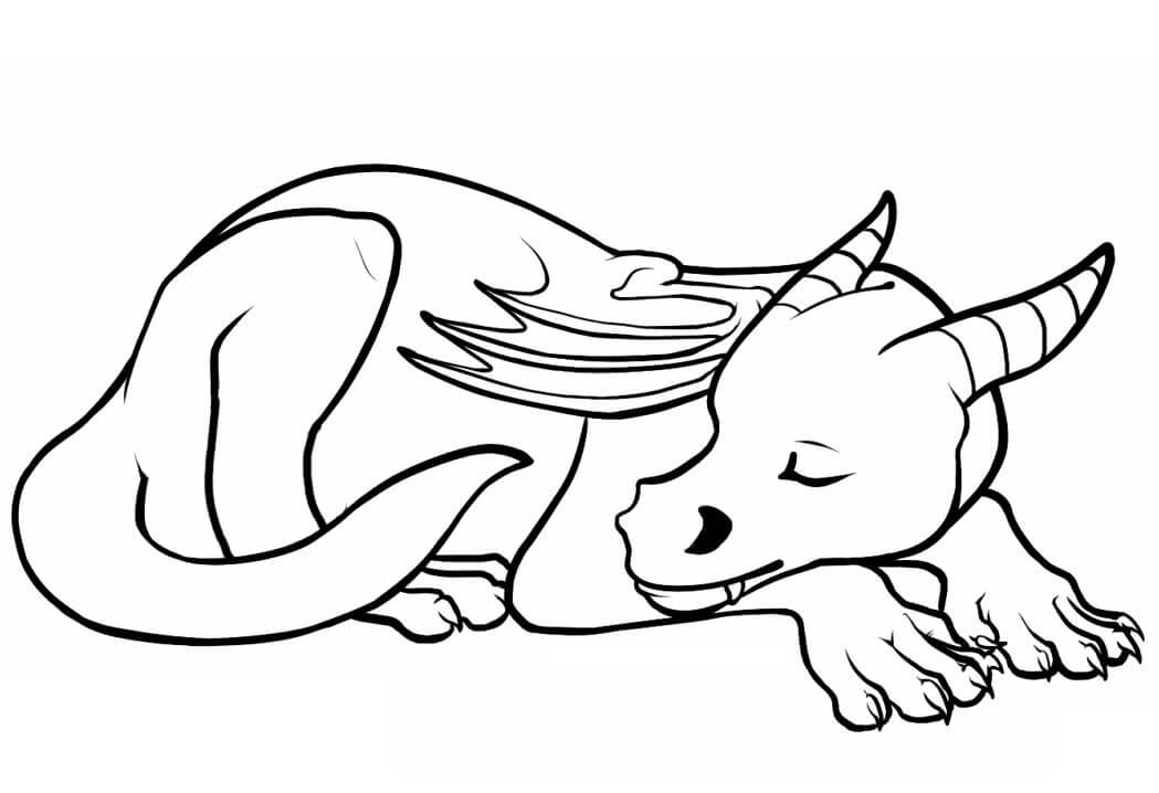 Tranh tô màu con rồng đang ngủ