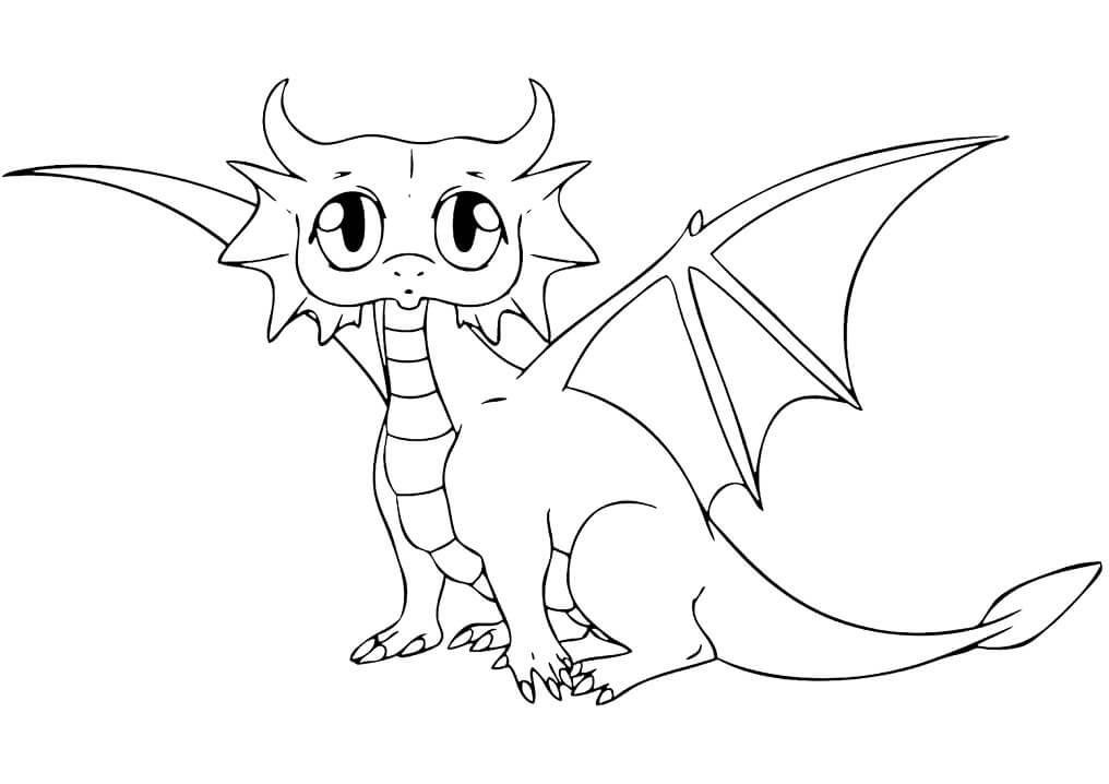 Tranh tô màu con rồng dễ thương