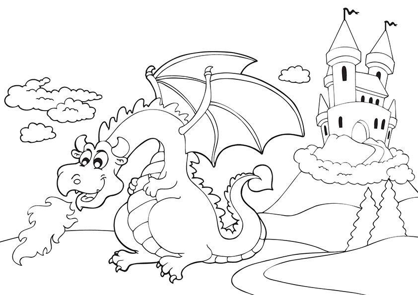 Tranh tô màu con rồng gần tòa lâu đài