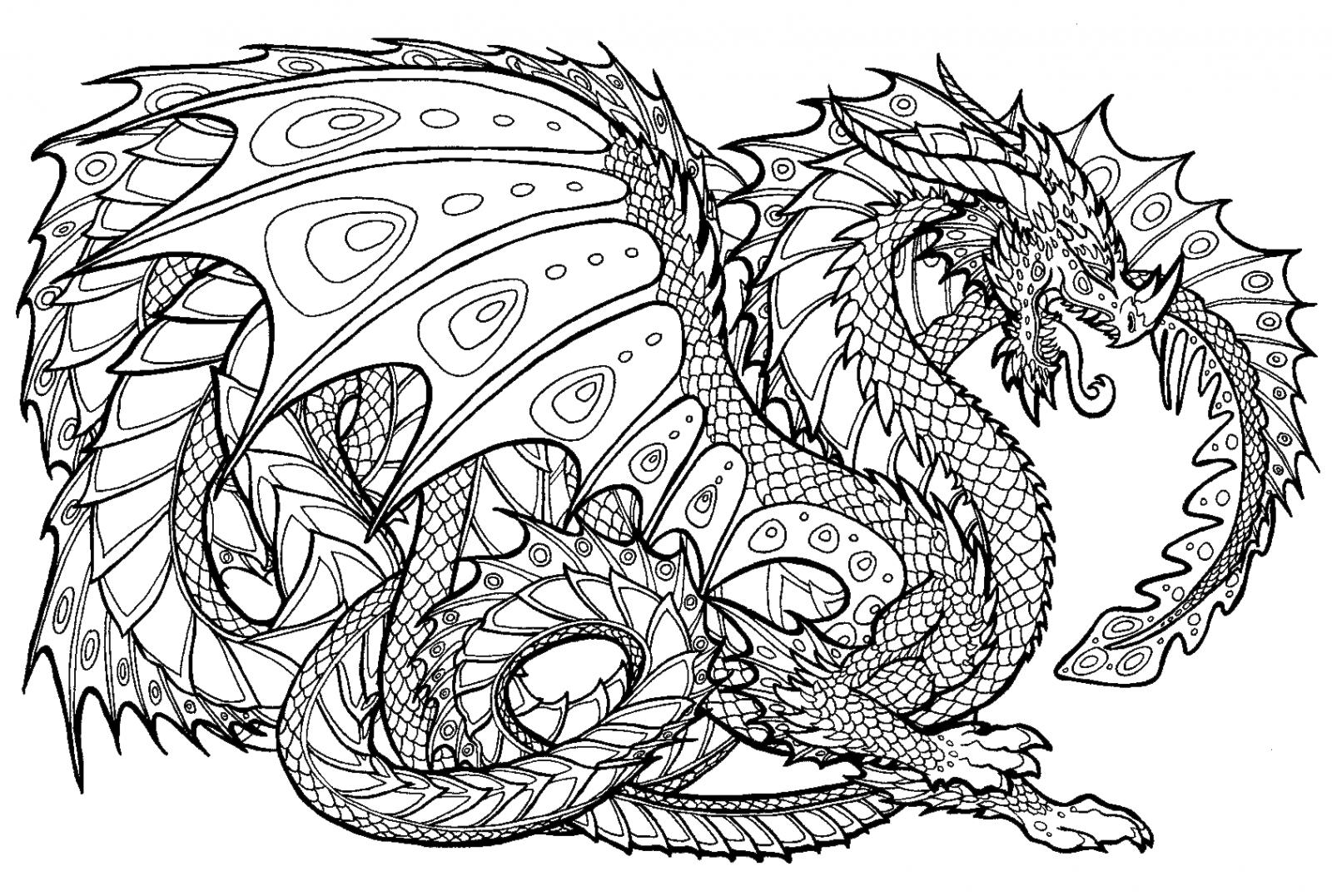 Tranh tô màu con rồng ngầu nhất