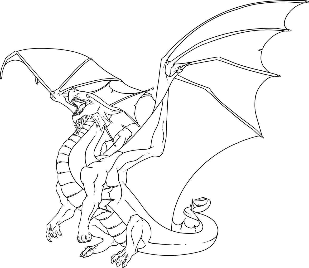 Tranh tô màu con rồng vẫy cánh