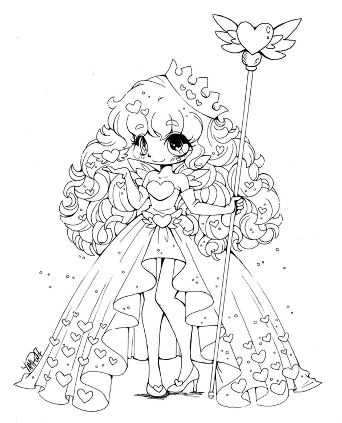 Tranh tô màu công chúa anime cầm quyền trượng