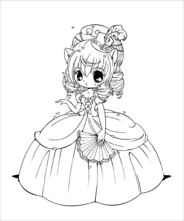 Tranh tô màu công chúa anime cho bé