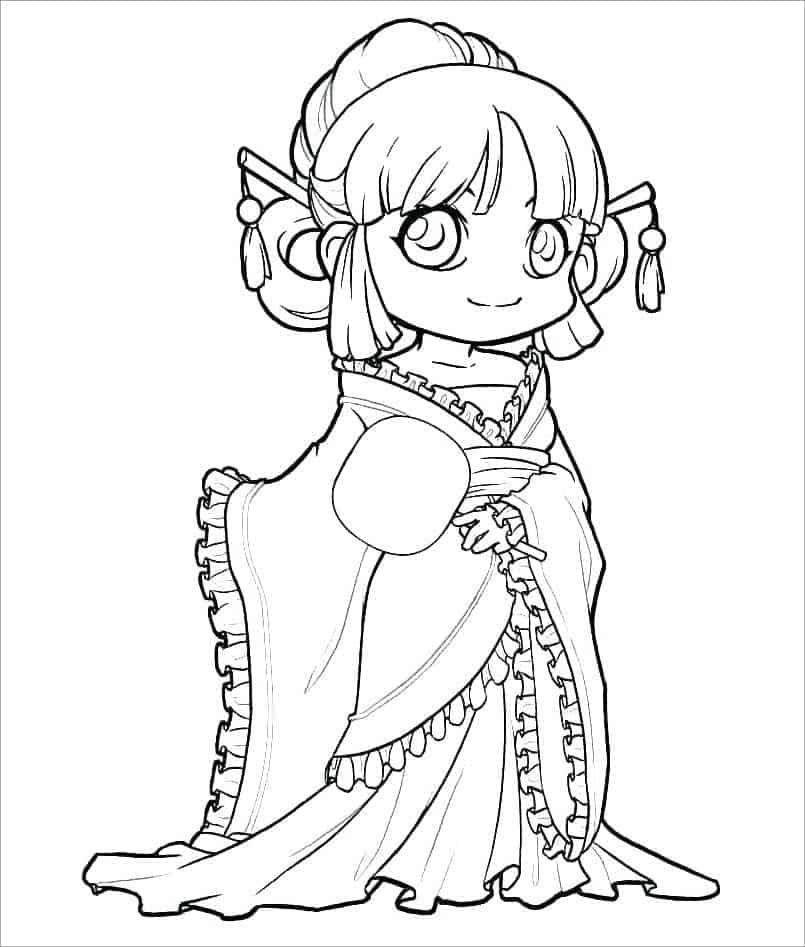 Tranh tô màu công chúa anime cổ đại