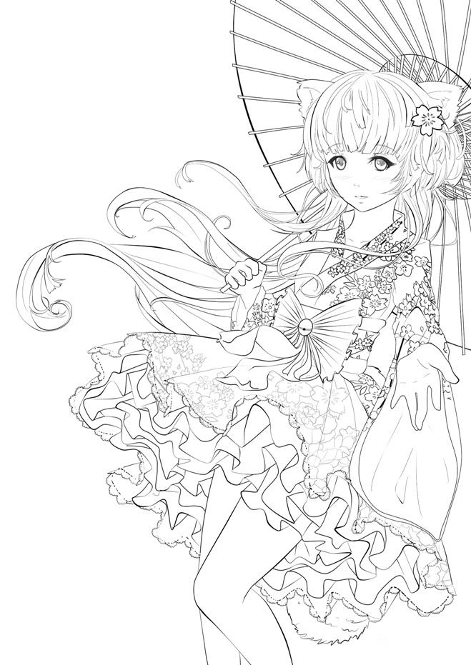 Tranh tô màu công chúa anime cổ trang