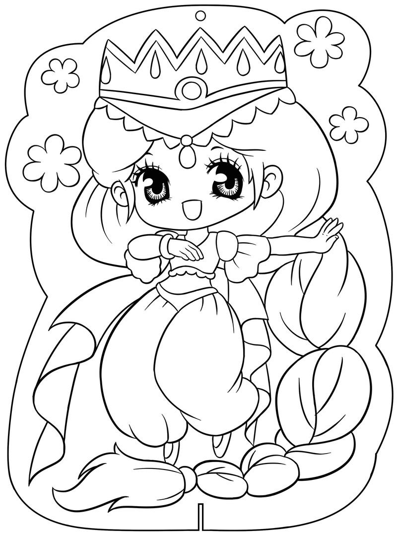 Tranh tô màu công chúa anime cute