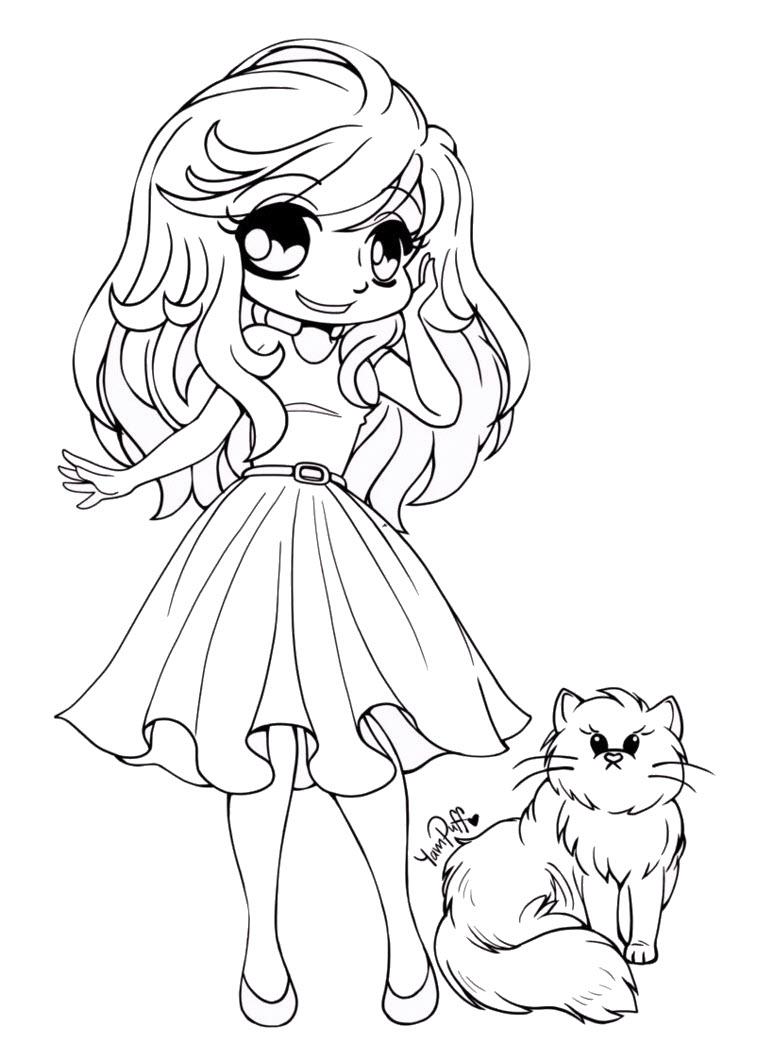 Tranh tô màu công chúa anime đáng yêu
