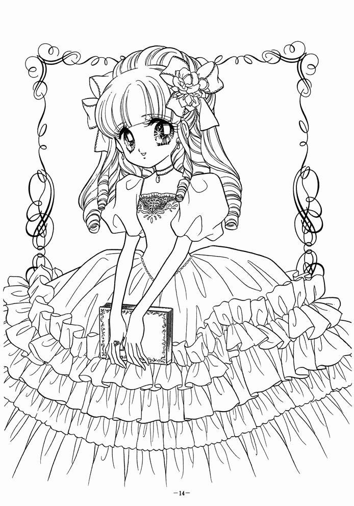 Tranh tô màu công chúa anime đẹp cho bé