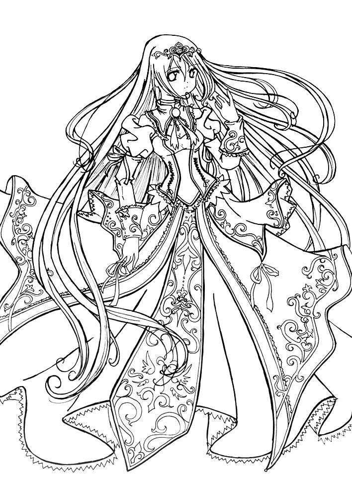 Tranh tô màu công chúa anime đẹp, khó