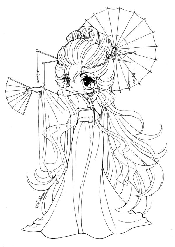 Tranh tô màu công chúa anime đẹp, ngầu