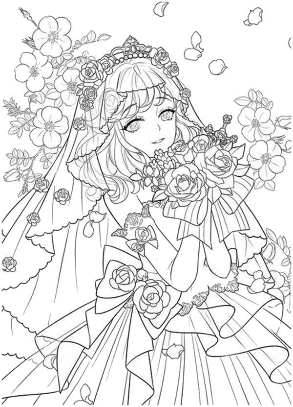 Tranh tô màu công chúa anime đẹp nhất