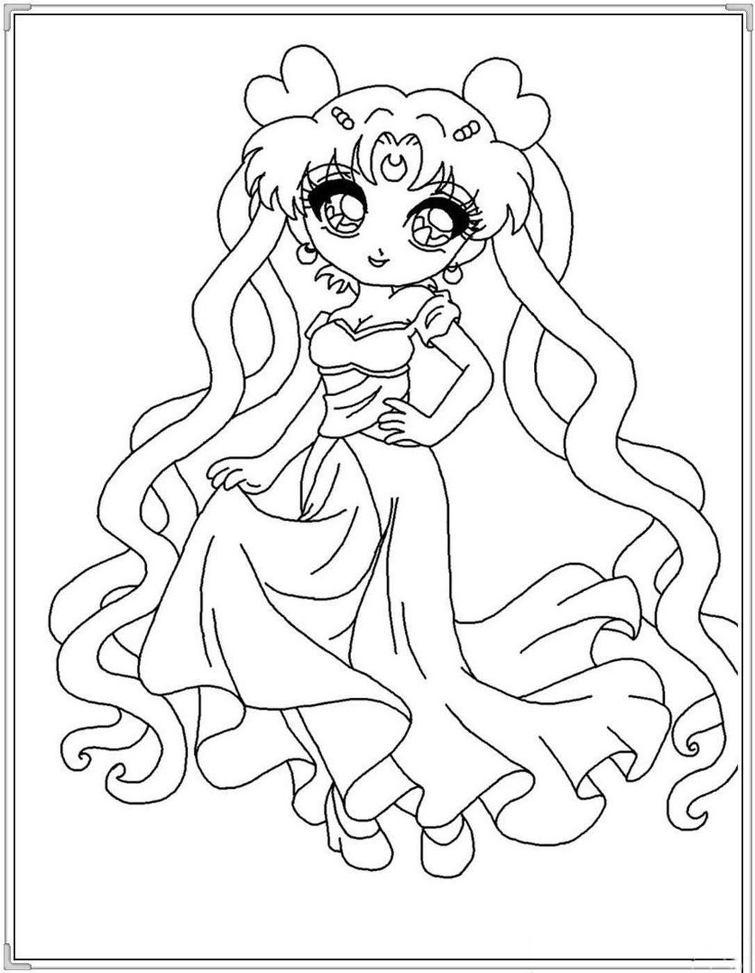Tranh tô màu công chúa anime đơn giản