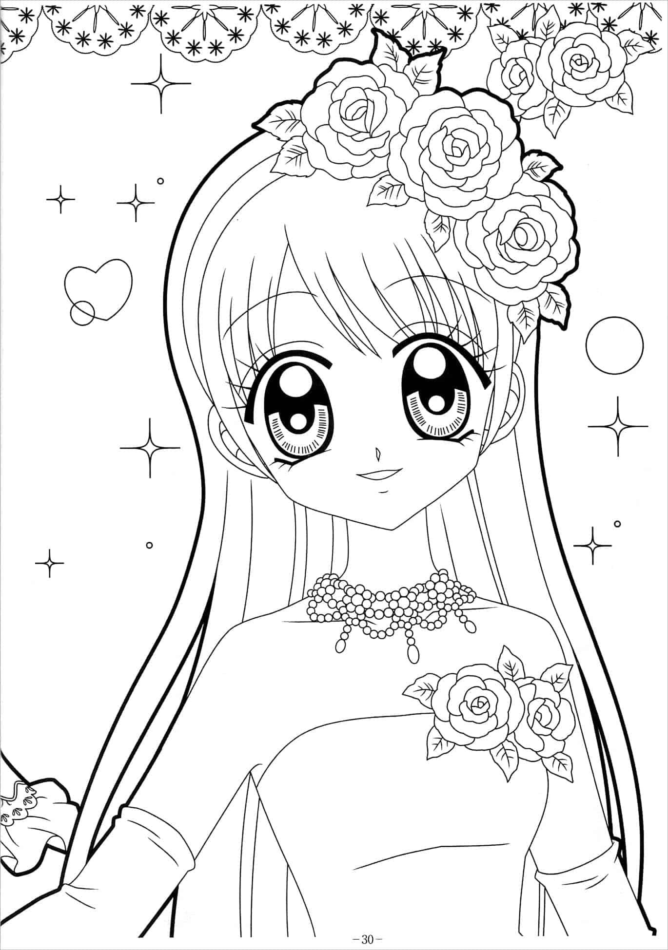 Tranh tô màu công chúa anime hiền dịu