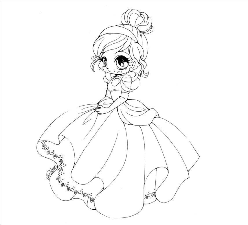 Tranh tô màu công chúa anime ngại ngùng