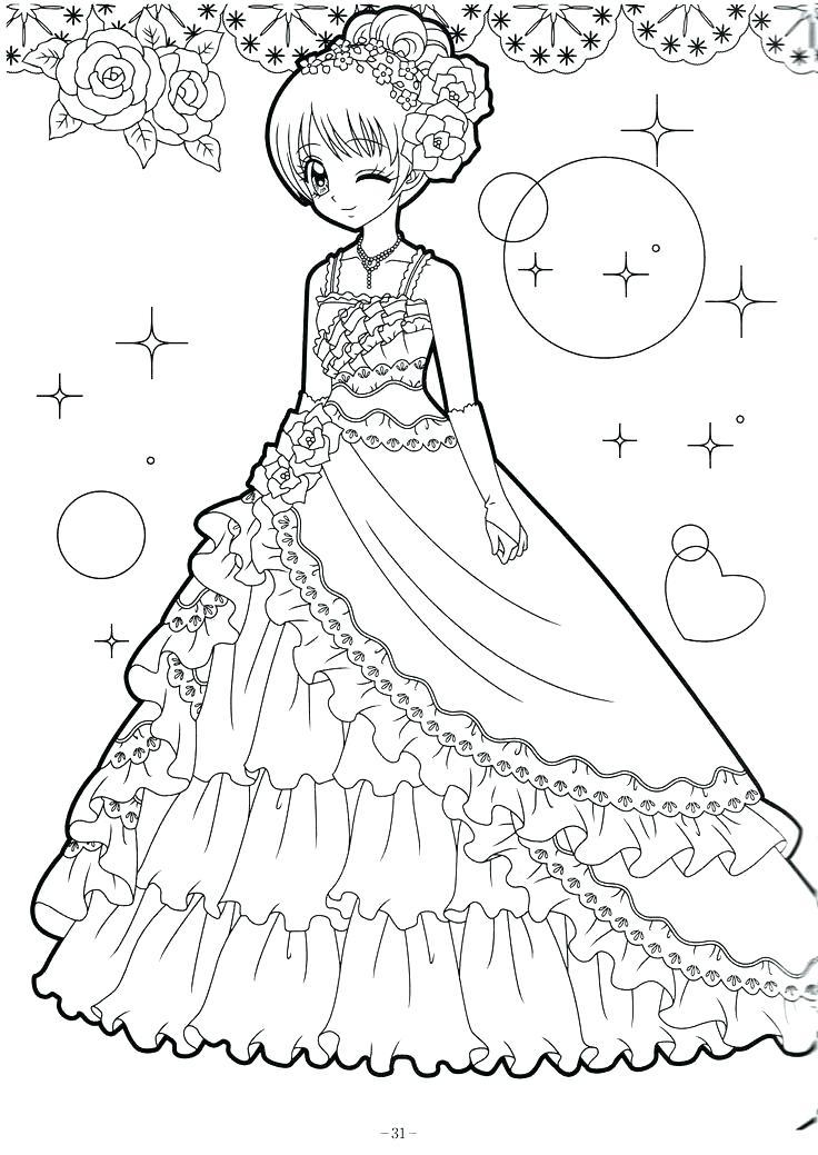 Tranh tô màu công chúa anime xinh đẹp, lộng lẫy