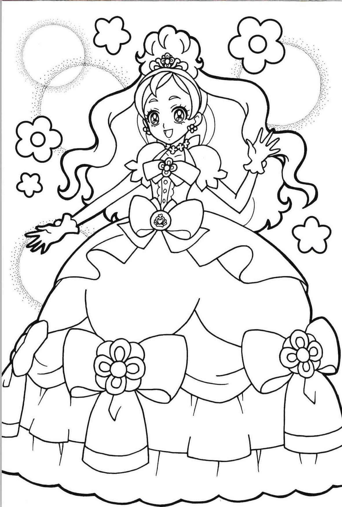 Tranh tô màu công chúa anime xinh đẹp