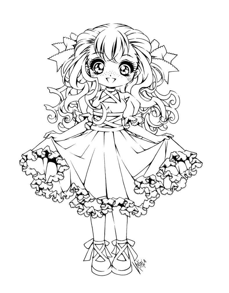 Tranh tô màu hình công chúa anime dễ thương