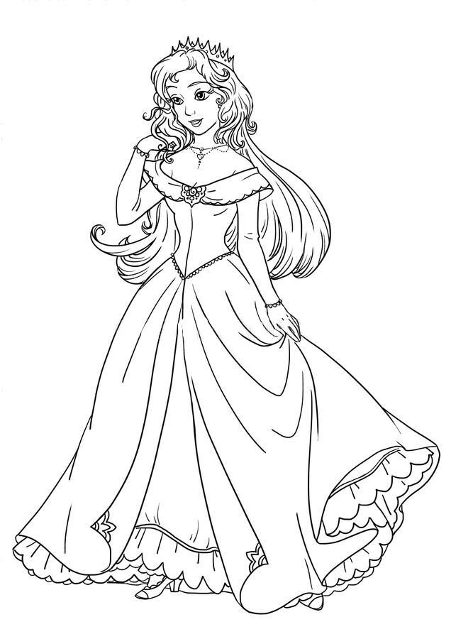 Tranh tô màu hình công chúa anime đẹp nhất